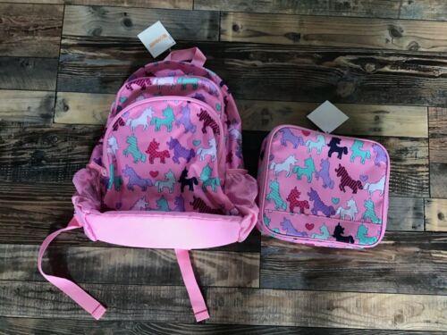 NWT Gymboree Girls Pink Unicorn Backpack Lunch Box Set Uniform Shop Bag School