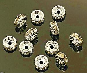 Loch 2 mm echter Hingucker Zwischenperle # Strass Rondelle 8 mm Dicke 3 mm