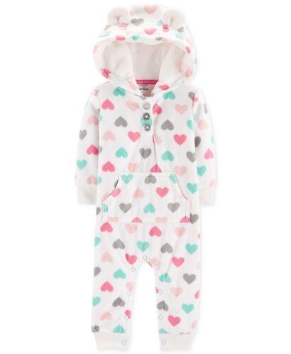 Baby Girls Fleece Coverall Carters Dot-Print Owl Heart-Print Pink Cat White 1Pc