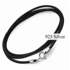 Black Leather Silver Necklace Lanyard