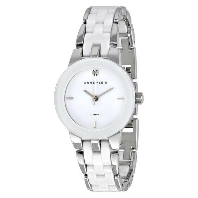 30ff3a86d Anne Klein 1611wtsv Women's Diamond Accented White Dial Steel and Ceramic  Bracelet Watch