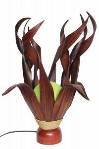 Exotische-Palmblatt-Tischleuchte-Tischlampe-Afrika-Asien-natur-Kugel-gruen-50cm