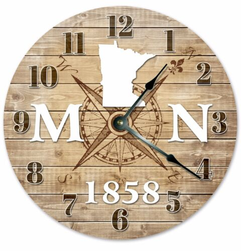 MINNESOTA Established in 1858 COMPASS CLOCK Large 10.5 inch Wall Clock