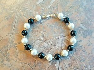 CP-Signed-14K-Yellow-GOLD-Bracelet-7-5-034-BLACK-ONYX-and-Pearl-Vintage