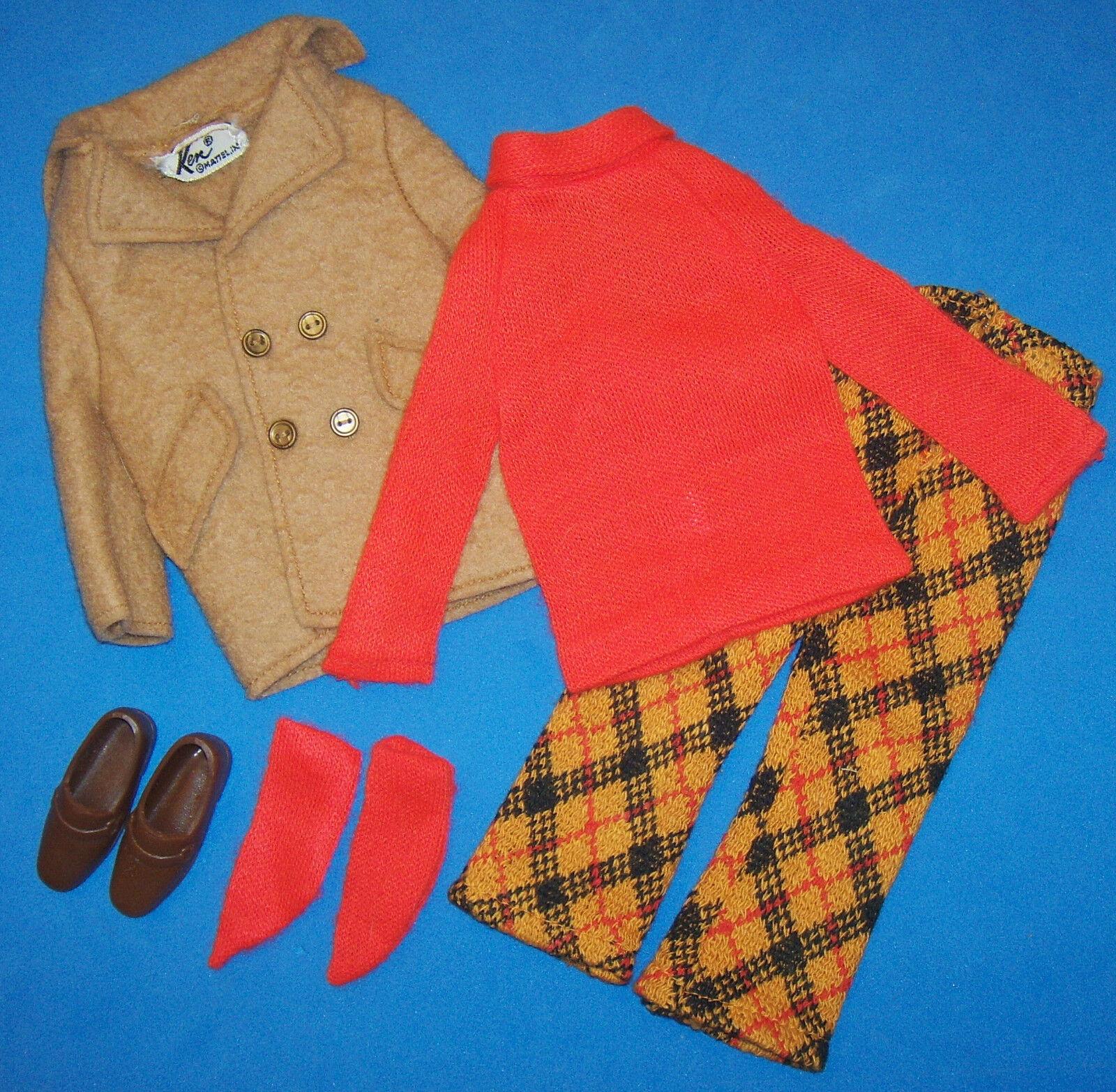 Vintage Ken Bambola Play It Cool Vestito Completo  1433  Mod Era 1970 Fondo  per poco costoso