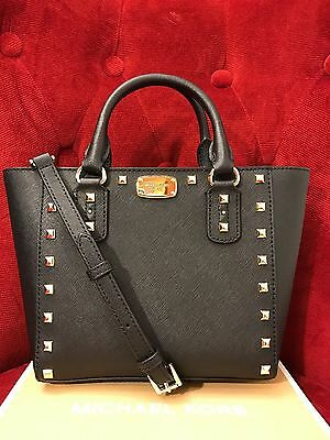 NWT MICHAEL KORS SAFFIANO SANDRINE STUD SMALL CROSSBODY BAG IN BLACK