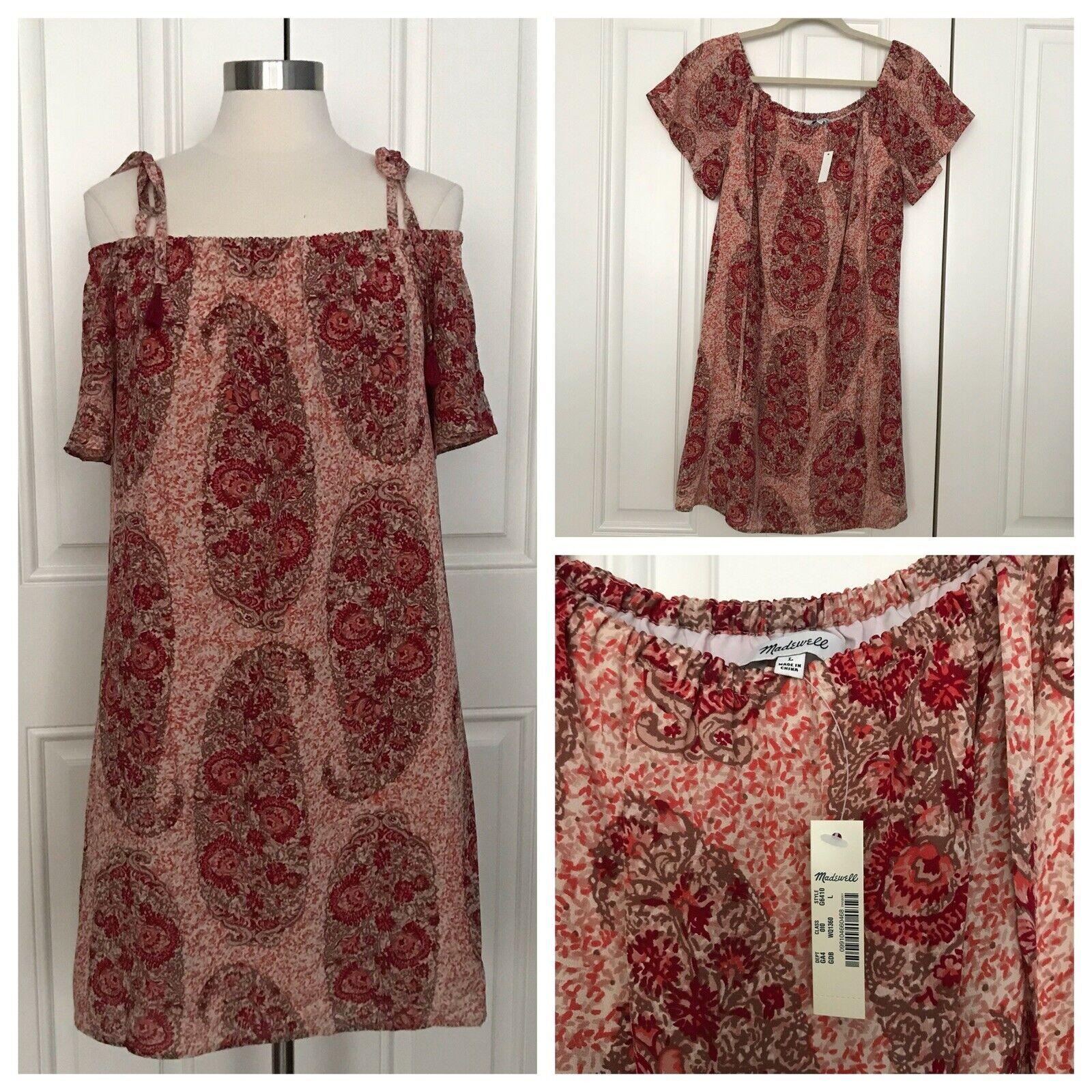 NWT Madewell Paisley Silk Cold-shoulder Dress Tunic G6410 damen L MSRP