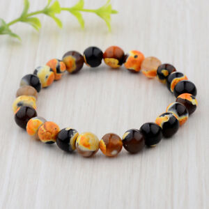 Fashion-8mm-Natural-Stone-Colorful-Spots-Beaded-Women-Men-039-s-Bracelets-Jewelry