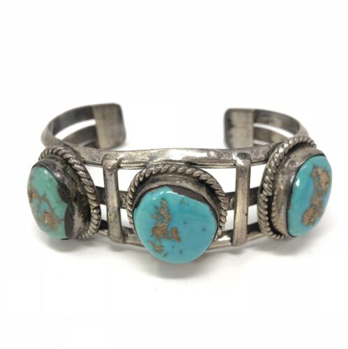 Vintage Old Pawn Native American Sterling Silver 925 Turquoise Bracelet