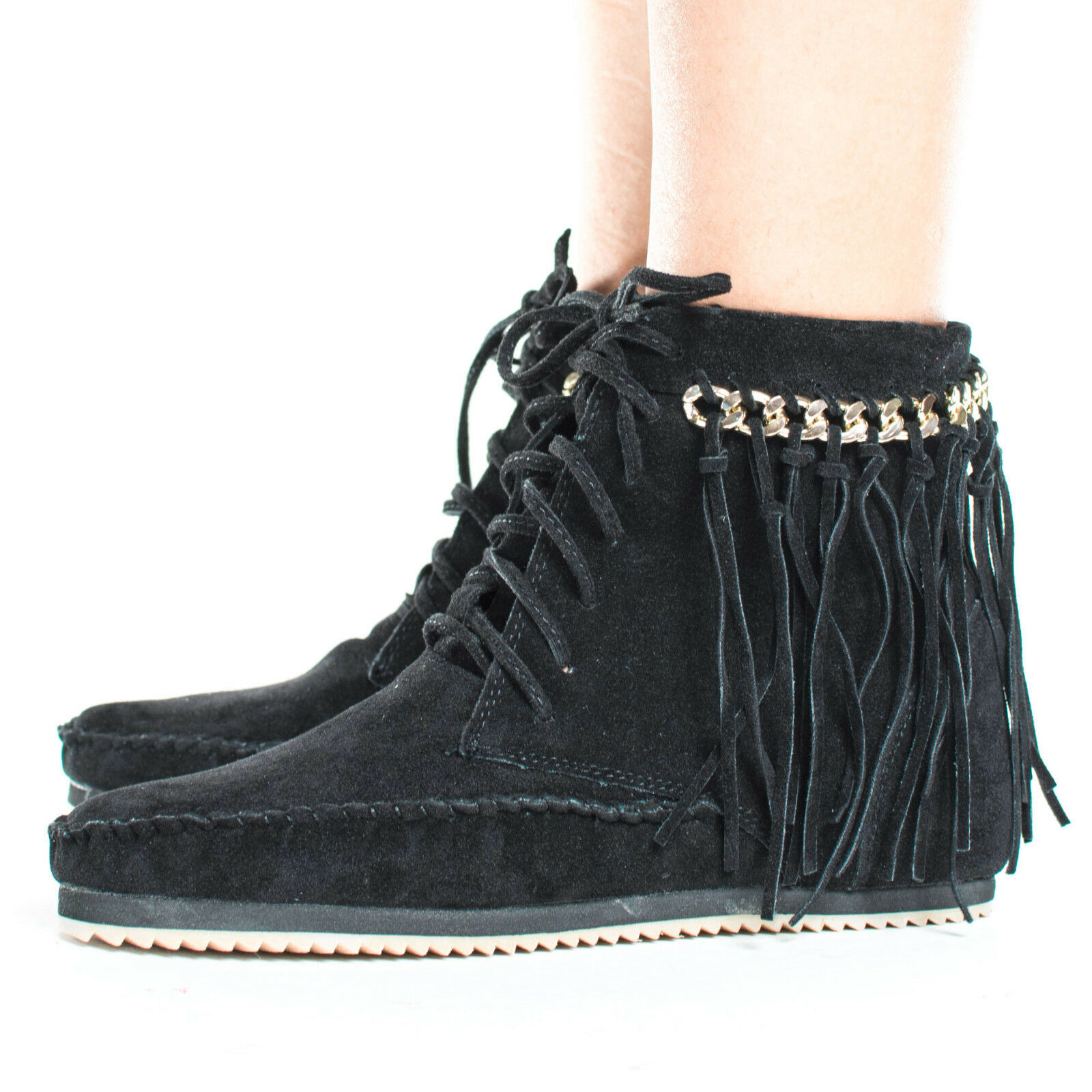 Indy01 Fringe & gold Chain Lace Up Women's Moccasin Boots