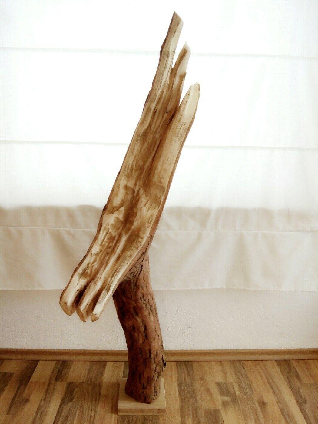Große Deko Baumscheibe Baumstamm Skulptur Holz Kunst Eiche Kunst Statue 1,18m