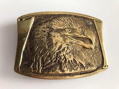 nICE! Vintage Large Brass Figural 1970/'s Eagles Head Head Belt Buckle