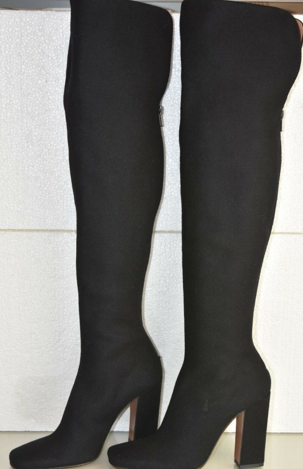 2650 NEW Alaia Over The Knee OTK Tall Boots Black Cashmere Leather shoes 36.5