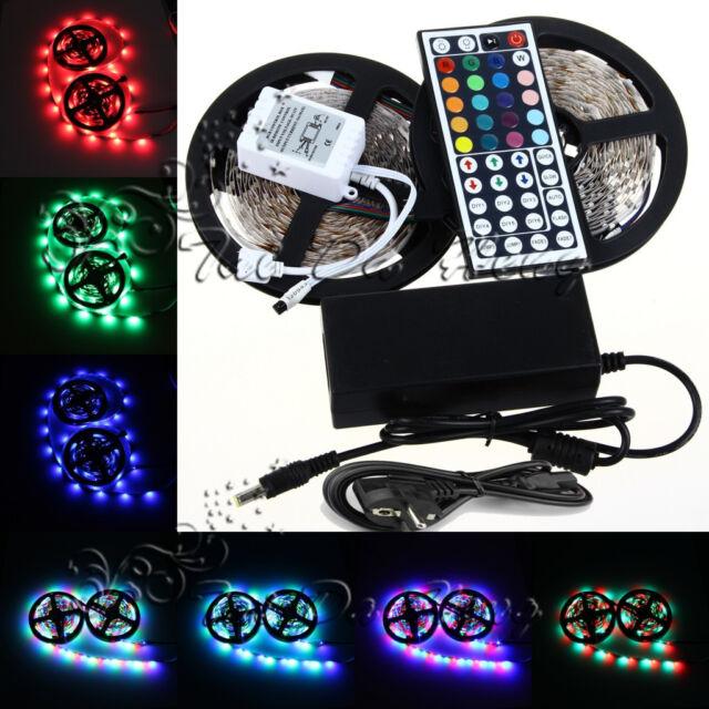 10M 3528 SMD 600LED RGB LED Light Strip 44 Key IR Remote Controller&Power Supply