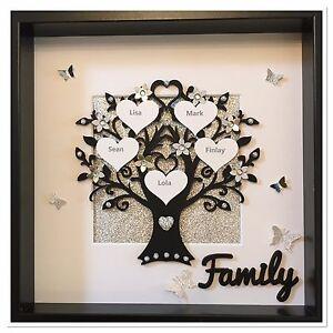 personalised family tree frame wedding xmas gift home love black silver glitter ebay. Black Bedroom Furniture Sets. Home Design Ideas