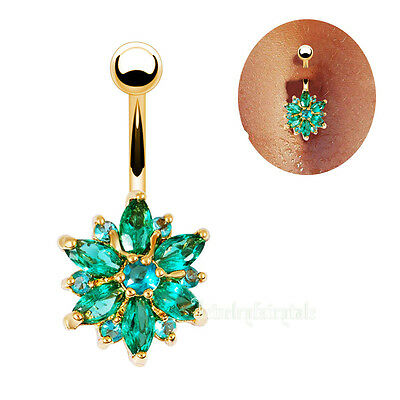 18K Gold Plated Bar 14G Turquoise Rhinestone body piercing Belly Navel Ring