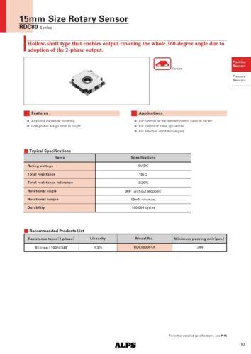 10x Alps RDC80 SMD absolutely-Analog Encoder Poti 10 Ohm Automotiv