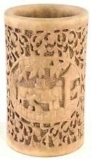 Vintage Chinese Hand Carved Wooden Brush Pot / Pen Holder