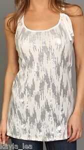 Ivory-Sequin-Embellished-Front-Lace-Back-Sleeveless-Racerback-Tank-Top-S-M-L