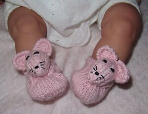 PRINTED-INSTRUCTIONS-BABY-SUGAR-MOUSE-SHOES-ANIMAL-BOOTIES-KNITTING-PATTERN