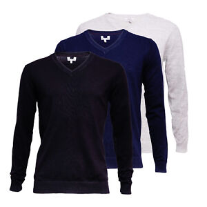 Ex-High-St-Store-Men-039-s-Cotton-Blend-V-Neck-Jumper-Sweater-RRP-20-00-Next-Day