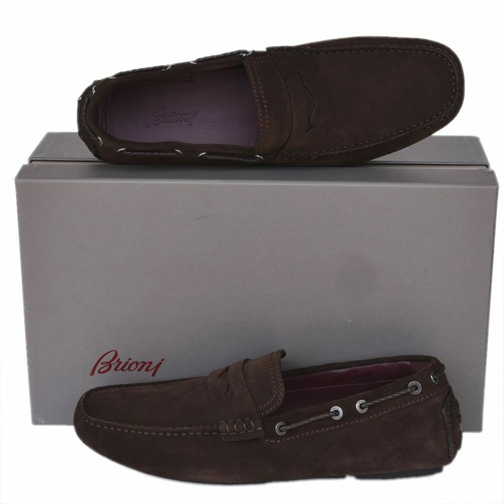 BRIONI New sz US 9 Authentic Designer Mens Drivers Loafers shoes brown