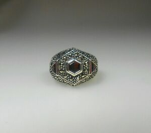 STERLING SILVER Exquisite Natural Garnet & Marcasite Ring Sz 9 MINT