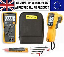 Fluke 113 Multimeter & 62 MAX-PLUS IR Thermal Reader PLUS Voltstick & Carry Case