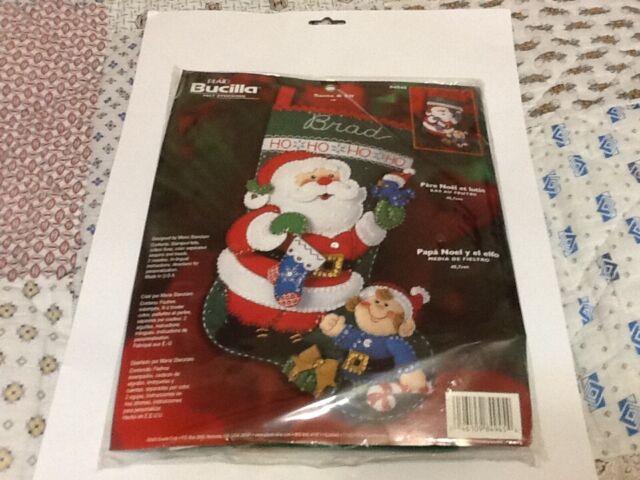 Plaid Bucilla Santa And Elf Felt 18 Christmas Stocking Kit 2003 Craft 84945 For Sale Online Ebay