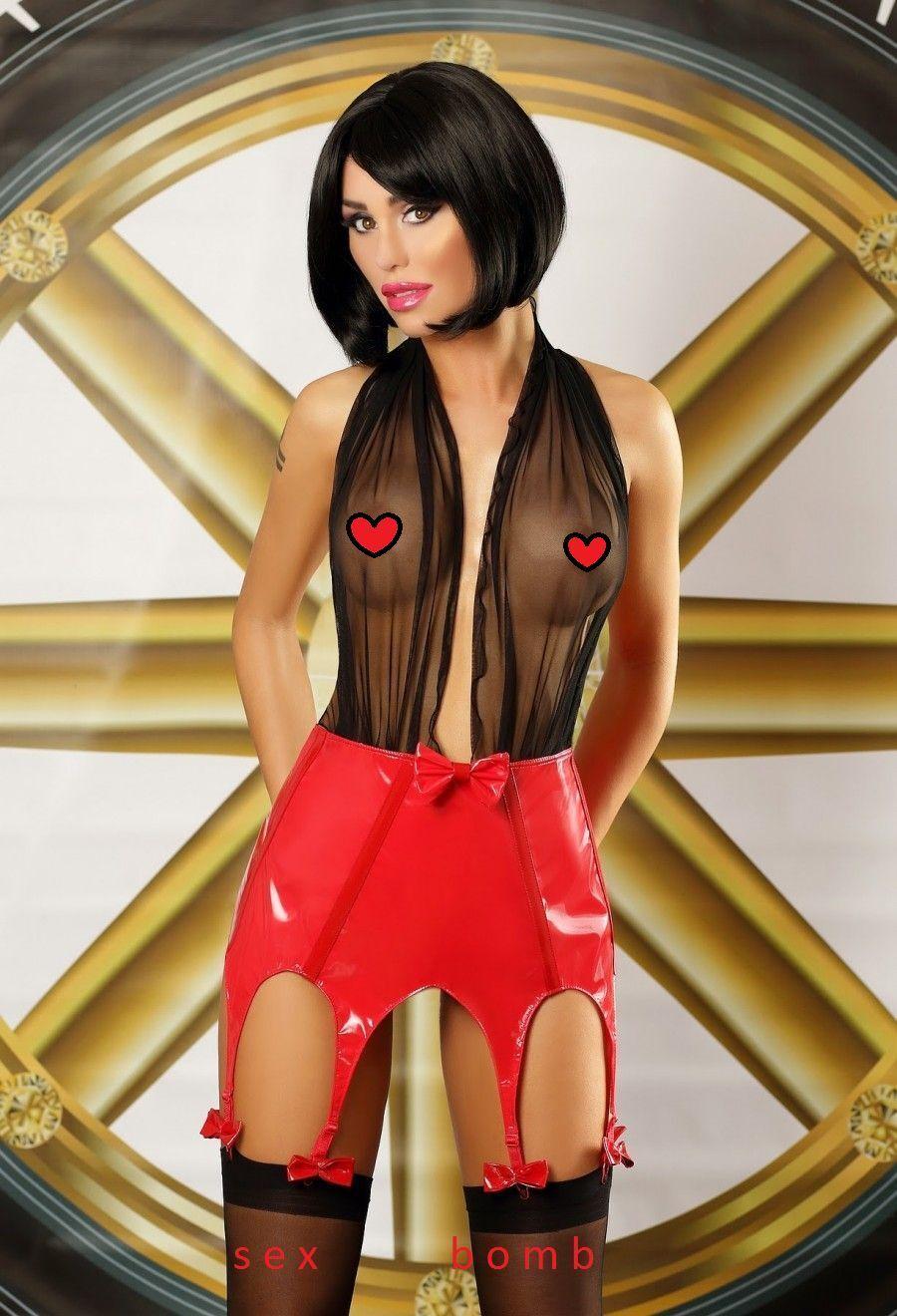 SEXY mini ABITO black red gonna vinile con REGGICALZE Lingerie Fashion GLAMOUR