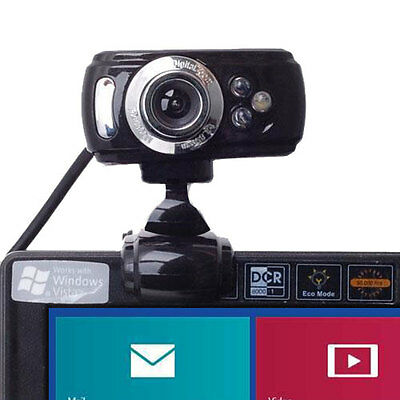 USB 50 Megapixel HD Webcam Web Cam Camera & Microphone Mic 3 LED PC Laptop Skype