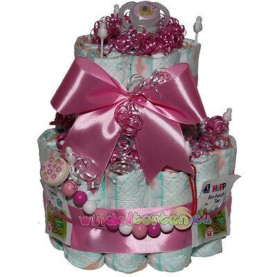"""★ Windeltorte Schnullerkette """"Girl ★ super Geschenk zur Geburt Babyparty Taufe"""