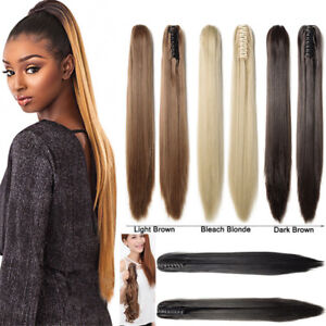 Claw-Clip-Silk-Straight-Remy-Human-Hair-Ponytail-Thick-Hair-Extension-15-034-30-034