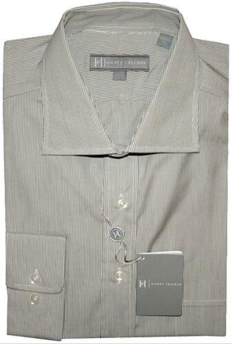 $195 New Hickey Freeman Olive White Dress Shirt 17.5 R 33