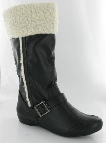 Moda Negro Piel Mitad de Pantorrilla Planas Botas para mujer UK3-8