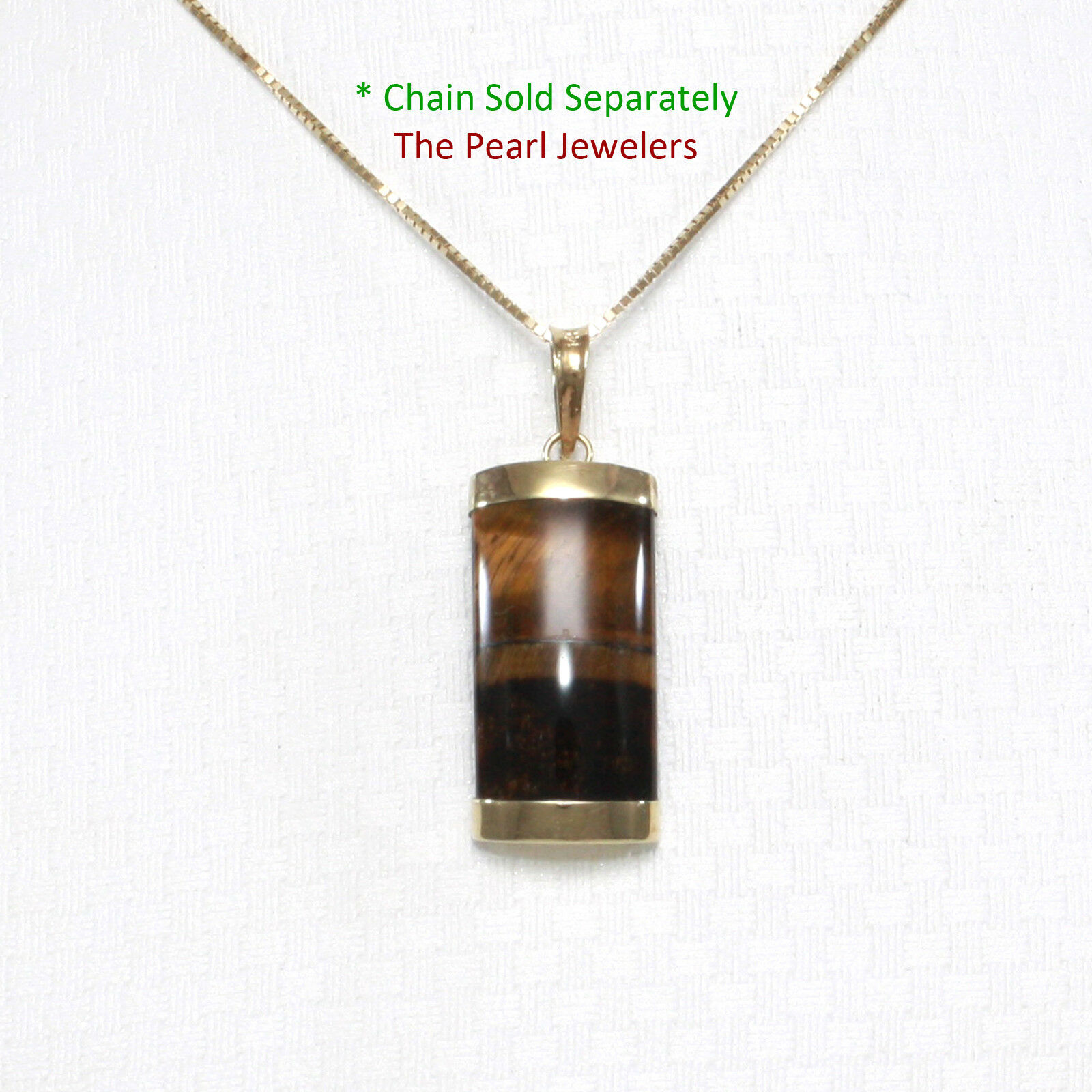 14k Solid Yellow gold Curve Shape 9x18mm Brown Tiger's Eye Pendant TPJ