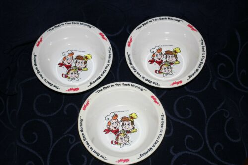 kelloggs cereal bowls Snap Crackle Pop x3 vgvc melamine