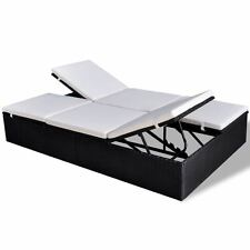 Black Double Sofa Outdoor Sun Lounger Day Bed Patio Deck Pool Wicker Rattan