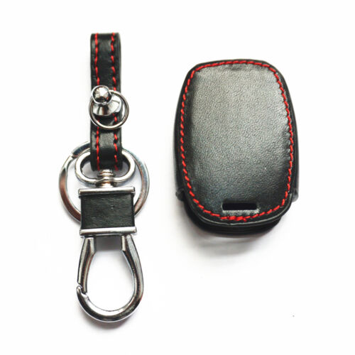 Black Leather For Honda 2+1// 3 Buttons Smart Remote Key Chain Cover Fob