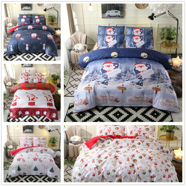 3D Santa Claus Snowman Polyester Duvet Cover Bedding Quilt Cover Set Pillowcase
