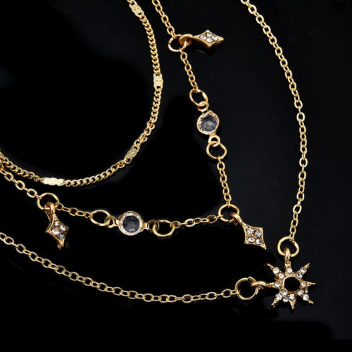 Fashion Gold Multilayer Chain Choker Star Crystal Pendant Necklace Women Jewelry
