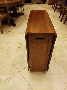 Vintage Mid Century Modern Gateleg Dropleaf Teak Compact Dining - Mid century modern gateleg table