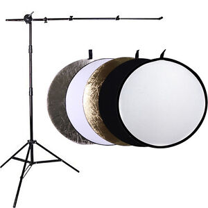 Photo Studio Disc Holder Boom Arm kit & 43in 5-in-1 Collapsable Reflector Stand