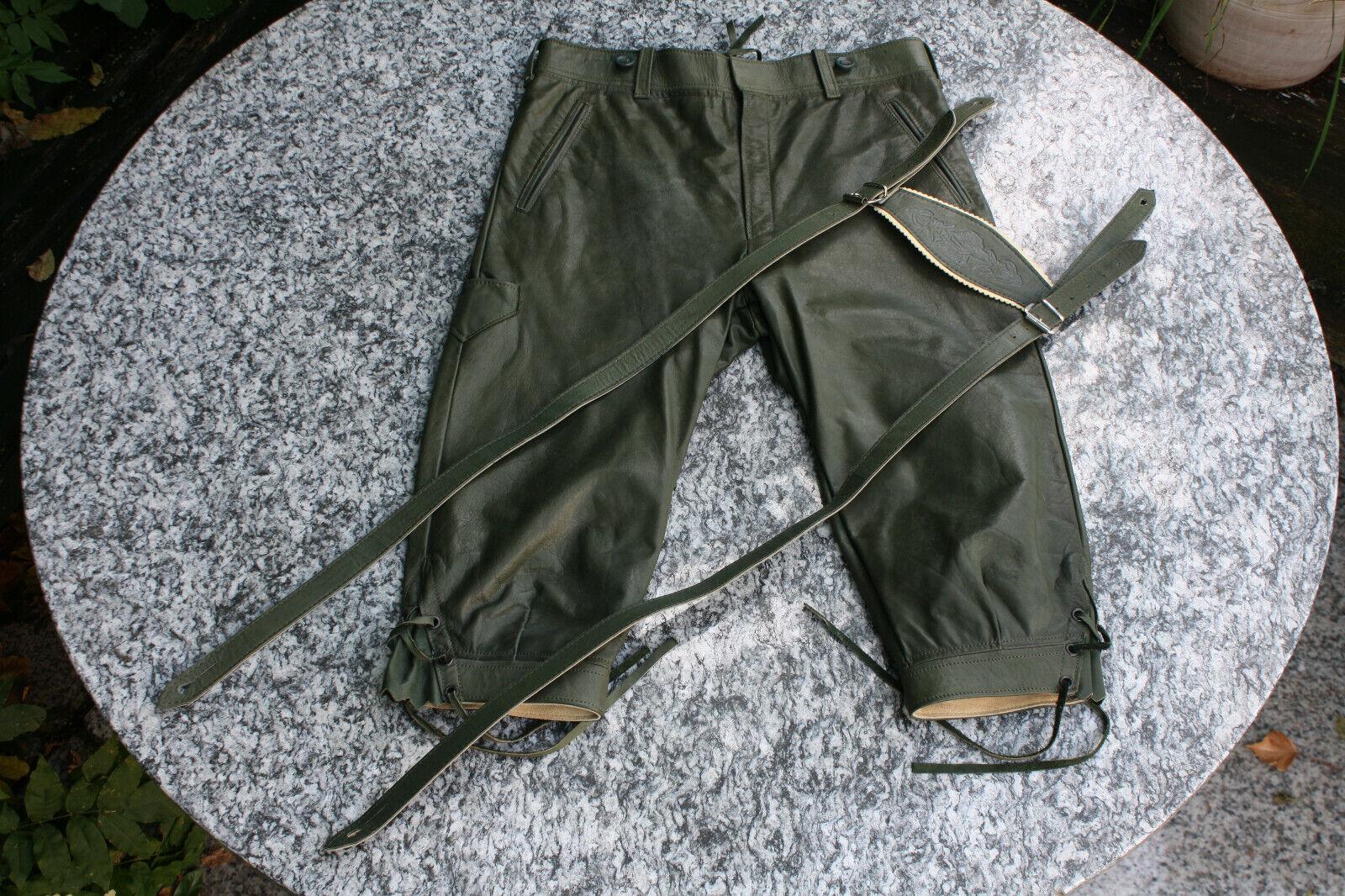 Frauen Kniebund Rindkalb-Lederhose D 40 grün, wenig getragen, schön & leicht !