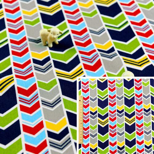 Blue Fat Quarter//MeterCotton Fabric FQArrow Multicolour Boy Green Red Grey
