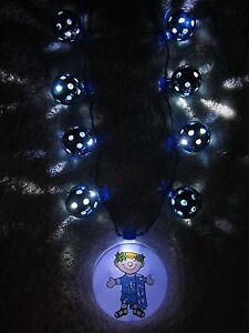 "/""KREWE of ENDYMION 2018/"" LIGHT-UP TURQUOISE DISCO GLOBE BALLS MEDALLION BEAD"