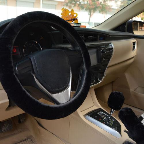 1 Set Warm Long Wool Plush Fluffy Steering Wheel Cover Car Handbrake Accessory