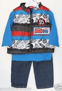 Disney-Cars-3-piece-Baby-Set-Pants-Shirt-Vest-Baby-Size-18-months-NWT-BLUE