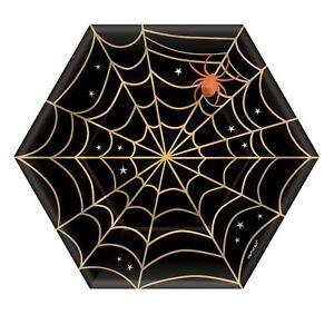 8-X-Halloween-Noir-or-Toile-D-039-Araignee-Assiettes-en-Papier-Fete-18cm-Buffet