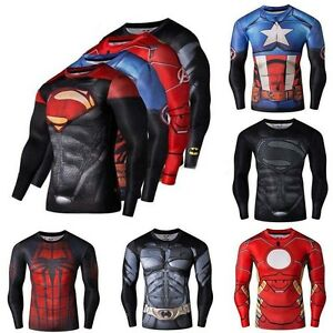 Mens-Gym-Bicycle-Jersey-T-Shirt-Compression-Marvel-Superhero-Sport-Tee-Tops-V131